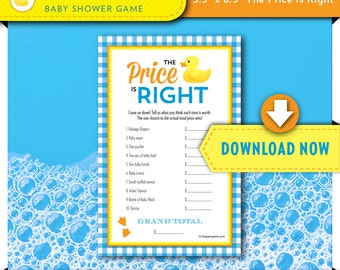 Rubber Duck Baby Shower Games, Rubber Ducky Baby Shower Game, PRICE IS RIGHT, Printable, Instant Download