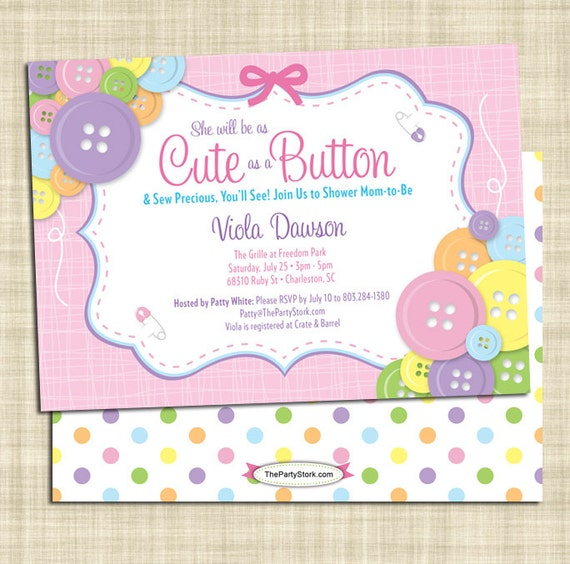 cute as a button baby shower invitation girl baby shower invitations