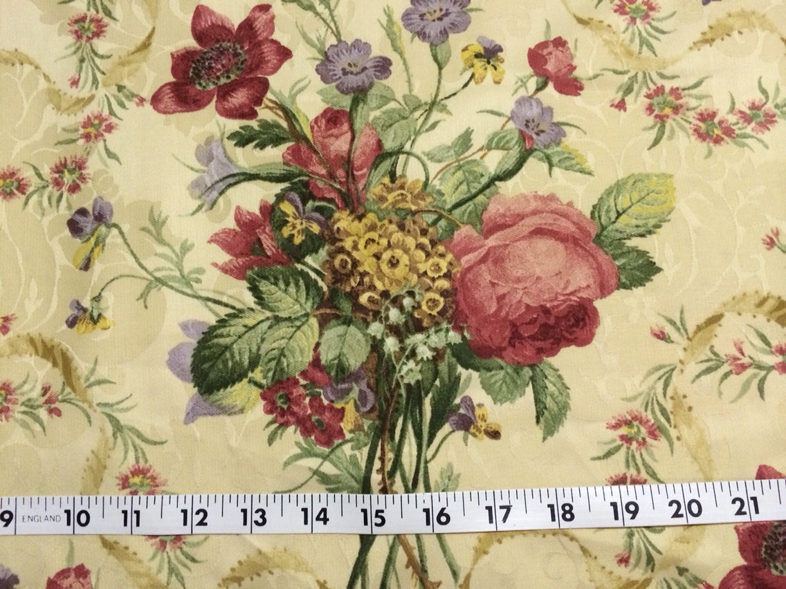 Cotton Damask Fabric Floral Home Decor Fabric by