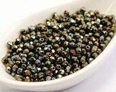 Iris Brown Czech Fire Polished 3mm Beads (70) Glass Round Polish Faceted Khaki Metallic