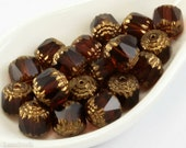 Topaz Gold Fire Polished Beads 10mm Faceted (10) Bronze Czech Polish Round Cathedral Acorn Brown Glass last
