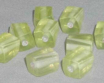 Vintage pale greenish yellow plastic twisted rectangular bead - 75 pcs.