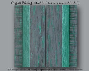 Large Wall Art Abstract Painting Teal Green And Gray Home Decor Shabby Chic