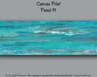 Wide abstract, Large wall art, Teal green, Bedroom decor, Beach decor, Grey, Turquoise, Office decor, Living room,Panoramic,Canvas art print