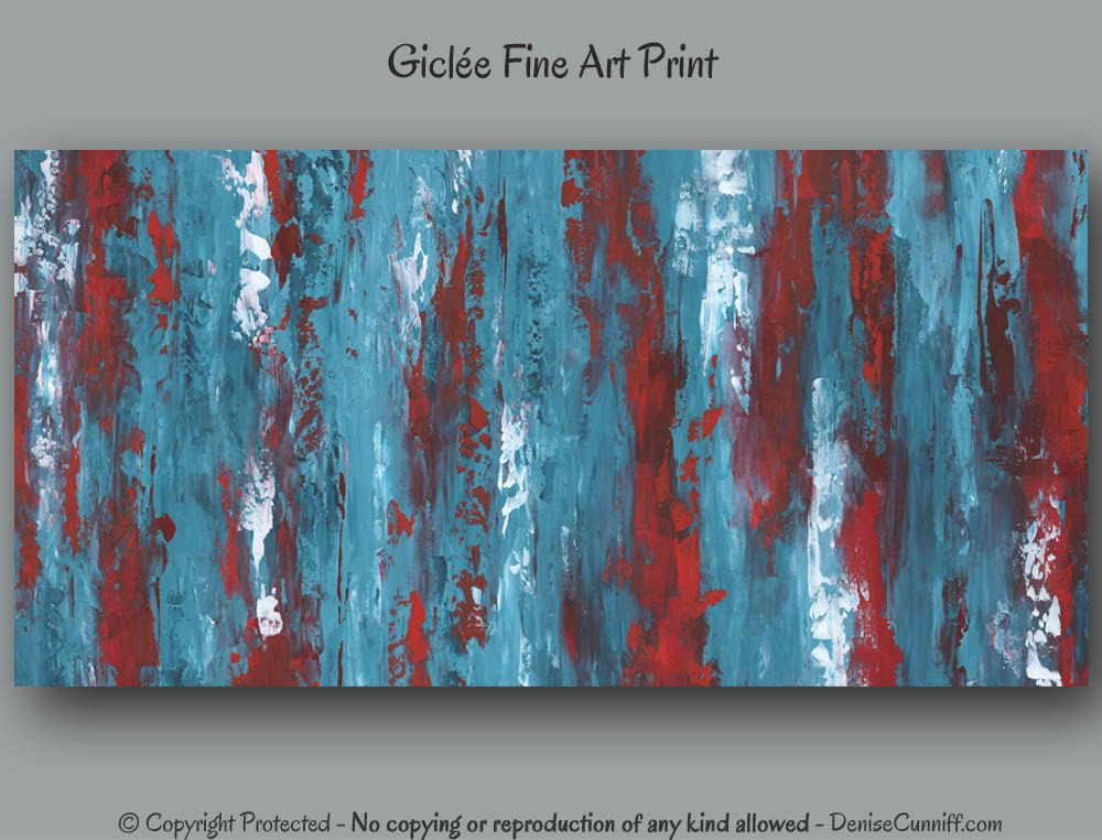 Turquoise blue and red artwork abstract wall art print of for Turquoise wall decor