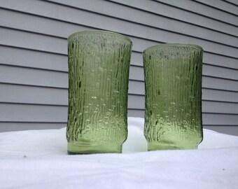 Vintage Bamboo Glasses /  Green Glass Tumblers / Wood Print Glassware