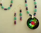Rainbow Colored Necklace Glass Jewelry Faceted Pendant Beaded with Green Amazonite Stone and Pink & Green Metallic Beads Unique Gift for Her