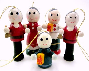Vintage Wood People Christmas Ornaments Holiday Decorations