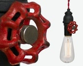 Vintage Upcycled Valve Pipe Pendant Light – Red