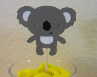 12 Koala cupcake toppers, Koala bear food picks,  cupcake toppers