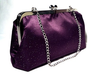 Glitter Plum Violet - Evening Clutch Bag, 16 inches Chain Handle, 8 X 5 X 2.5