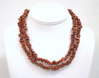 Goldstone chip bead necklace brown 36 inch FREE CLASP