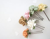 White Flower Hair Pins Set Of Six Antique Bronze Taupe Melon Mint Green Pink Pastel Ivory Bridal Hair Accessories For Wedding Simple Adults