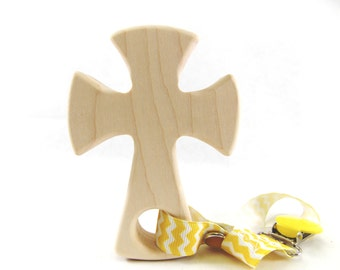 Wood Teether Toy, Organic Baby Toy, CROSS shaped baby teether by Bannor Toys Wooden Toy
