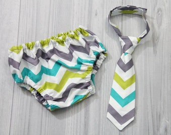 lime green, teal blue, gray and white chevron Diaper cover and neck tie set. baby boy, Birthday, milestone photography. cake smash set