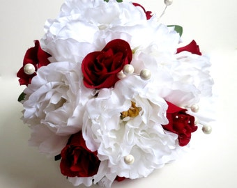 Silk Bridal Bouquet - Faux Bouquet - Artificial Bouquet - White and Red Bouquet - Matching Boutonniere Included