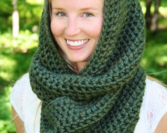 CROCHET Infinity SCARF PATTERN Instant Download  Easy Hooded Scarf Crochet Scoodie Pattern