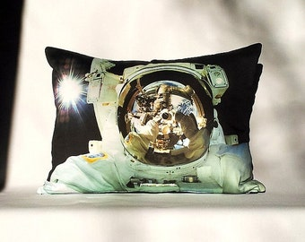 ON SALE: Astronaut Selfie Close-Up Pillow Cover - NASA Space Shuttle Science Photo on Fabric; black, white