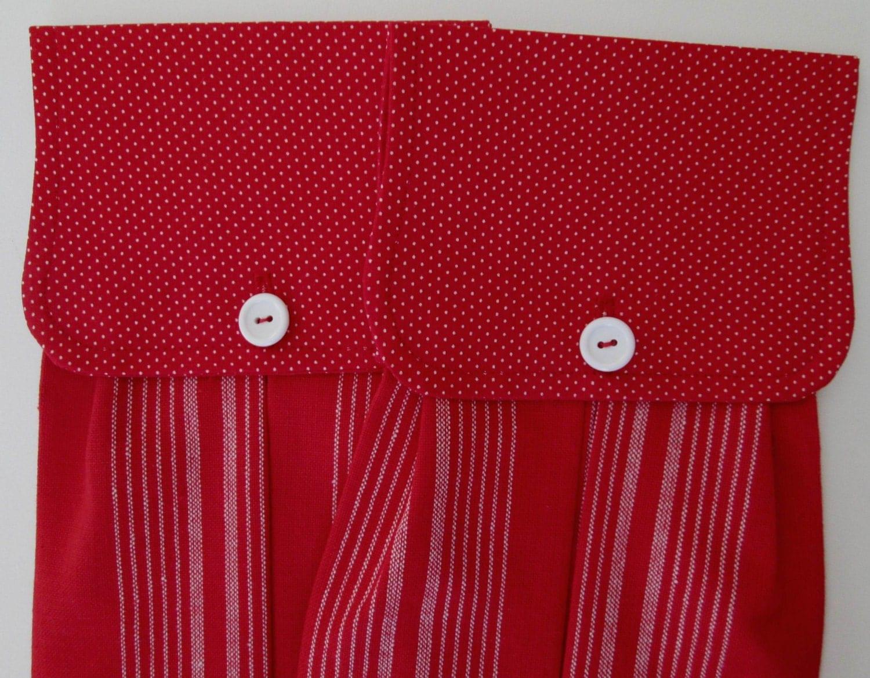 Hanging Kitchen Towel Set-Red White Polka Dots Red White