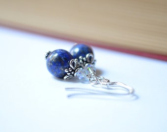 Lapis Lazuli Sterling Earrings, Lapis Lazuli and Swarovski Crystal Sterling Dangle