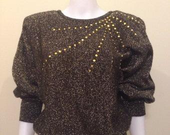 Vintage 1970's Cristina's Metallic Batwing Sweater
