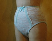 Beach Glass Sheer Lace Panties - hand made - waist high full coverage panty