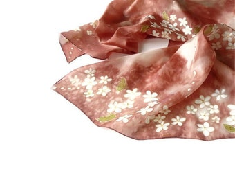 Silk scarf - Painted Silk Scarf - Romantic Silk Scarf -  Terracotta brown scarf - White flowers