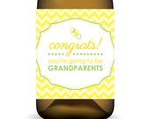 "Pregnancy Reveal ""Congrats You're Going To Be Grandparents"" Wine Label ... In Yellow For It's A Surprise - Instant Download"
