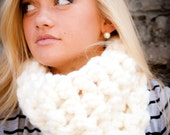 Winter White Single Loop Super Thick Chunky Cowl Neck Infinity Circle Scarf
