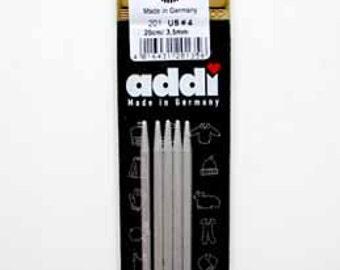"Addi Aluminum double point needles, 2 mm, set of 5, 8"""