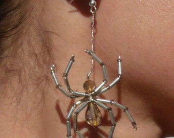 Silver and Taupe Spider Earrings - Beige Crystals - Beaded - Steam Punk - gothic - Halloween- Aracnid - Creepy Crawly