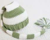 Newborn Elf Hat,Christmas Elf Hat, Boy Hat, Girl Hat, Green Long Tail Stocking.