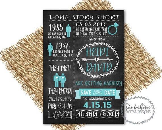 Items Similar To Our Love Story SAVE THE DATE Chalkboard