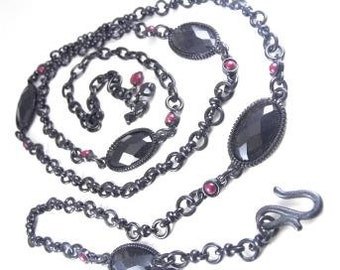 Gothic Long Chain Or Belt Black Rhinestone Beads Blood Red Accents Japanned Metal