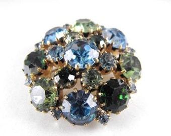 Rhinestone Brooch Domed Green Olivine Sky Blue Signed Karu Arke Vintage Jewelry