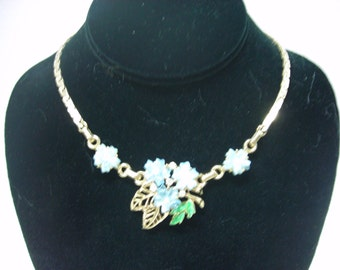 Vintage Barclay 12 - 15 Inch Necklace in Goldtone with Blue Lucite Flowers and Painted Leaves