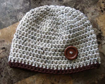 Crochet Baby Boy Beanie- Toddler Beanie Hat- Oatmeal with Wooden Button MADE TO ORDER