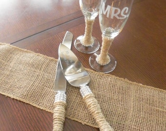 Personalized Cake Server and Etched Glasses - Burlap and Bling-  set