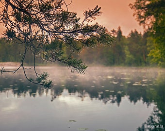 Calm nature decor, lake wall art Finland, forest reflection, print to frame for your wall, dark mist fantasy land, dreamy wild landscape