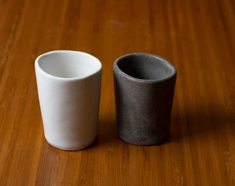 20% off Sale: 2 piece set of Grey and White Stoneware sake cups, simple ceramic Pottery Cups, Matte - ready to ship his and hers