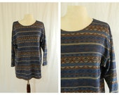Vintage Southwestern Print Long Sleeve Tunic- Navajo Print Top- Womens Medium- Large