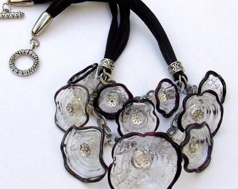 Statement Lampwork Necklace, Flower Caps Necklace.  Black and Transparent Glass Flower Caps Necklace with Black Cords, Made to Order