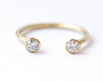 dual stone ring diamond wedding ring horseshoe ring 03 carat round diamonds 18k gold - Horseshoe Wedding Rings