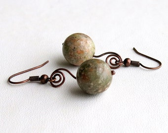 Unakite and copper earrings - natural multi-coloured brown, green and rust stones