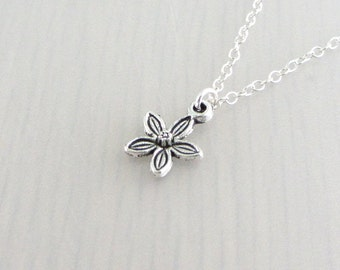 Silver Plated Flower Charm On A Sterling Silver Necklace, Silver Flower Pendant, Flower Charm Pendant, Flower Necklace, Small Flower Charm
