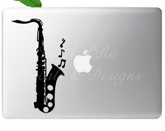 Orchestra Saxophone Instrument Musical Notes Symphony Band Decal for Macbook