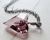 Pink Crystal Heart Pendant / Valentine / Sterling Silver Necklace / Anniversary / Sweetheart / SimplyJoli / Wild Heart / Antique Rose