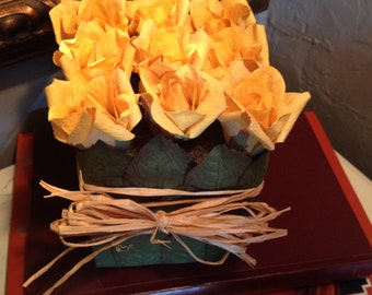 Yellow Paper Roses in Green Paper Leaf Basket