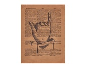 Book Art, Finger Spelling Sign Language Typography Print, 1800's Art Illustration & Dictionary Page, Letter Y
