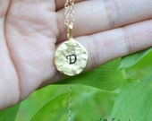 round initial necklace, personalized necklace, bridesmaid gifts, 14k gold filled, 18k gold vermeil